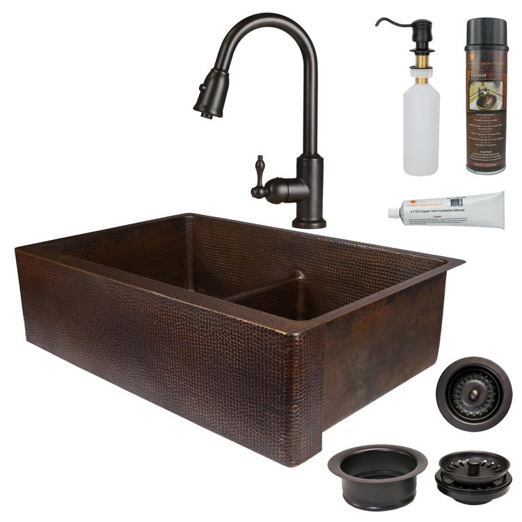 Premier Copper Products - KSP2_KA50DB33229-SD5 Kitchen Sink, Faucet and Accessories Package