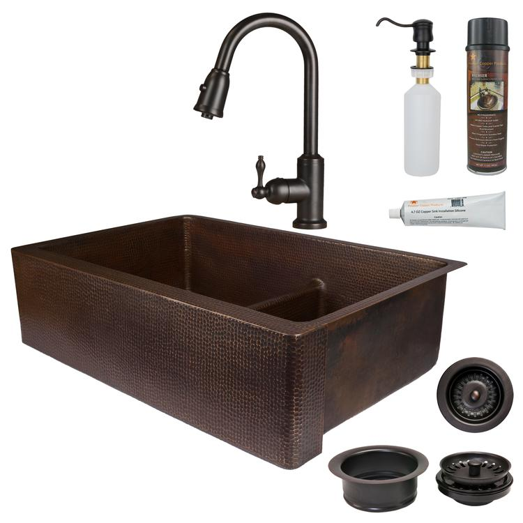 Premier Copper Products - KSP2_KA60DB33229-SD5 Kitchen Sink, Faucet and Accessories Package