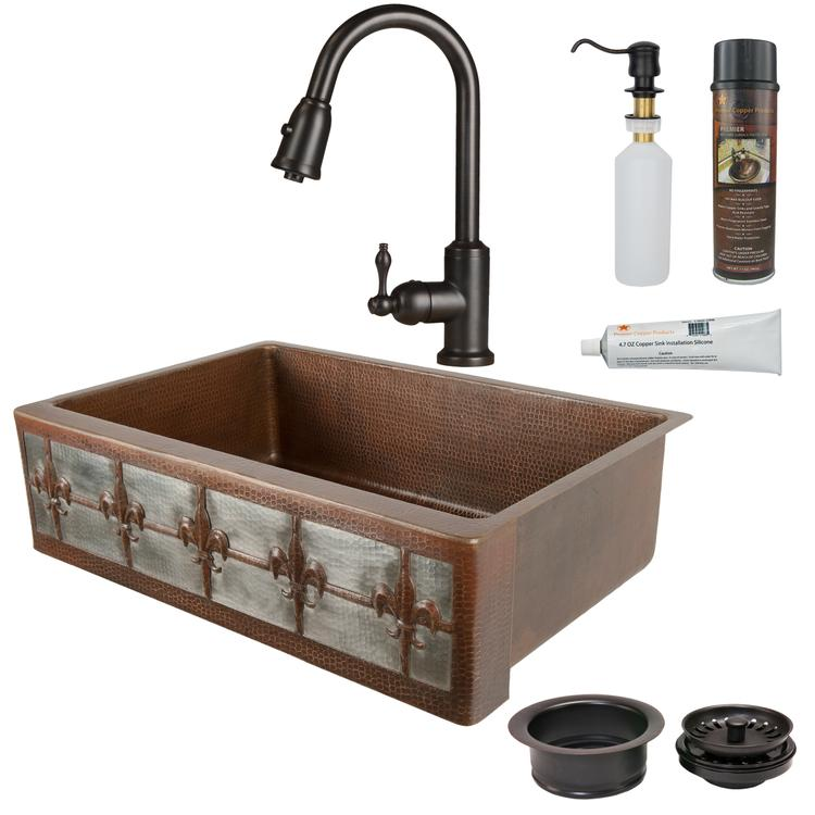 Premier Copper Products - KSP2_KASDB33229F-NB Kitchen Sink, Faucet and Accessories Package