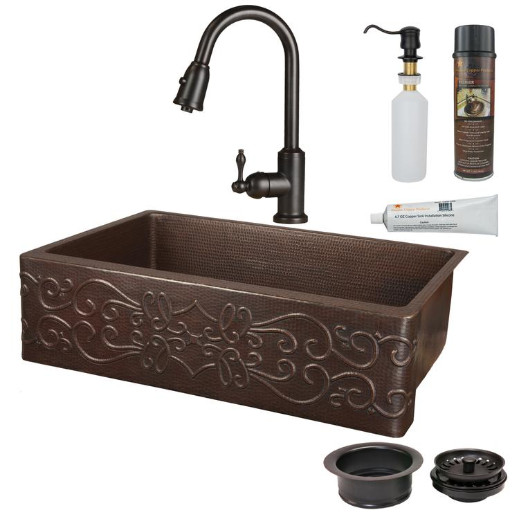 Premier Copper Products - KSP2_KASDB35229S Kitchen Sink, Faucet and Accessories Package