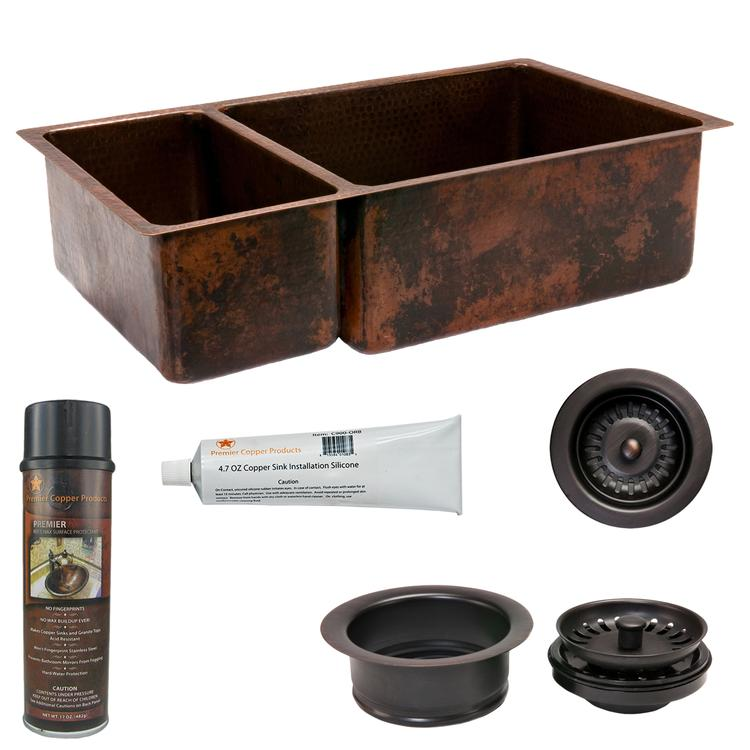 Premier Copper Products - KSP3_K25DB33199 Kitchen Sink and Drain Package