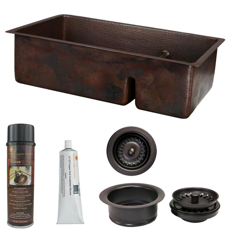 Premier Copper Products - KSP3_K70DB33199-SD5 Kitchen Sink and Drain Package