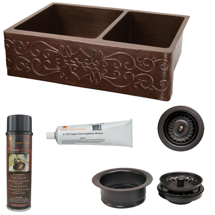Premier Copper Products - KSP3_KA60DB33229S Kitchen Sink and Drain Package