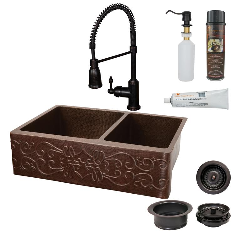 Premier Copper Products - KSP4_KA60DB33229S Kitchen Sink, Faucet and Accessories Package