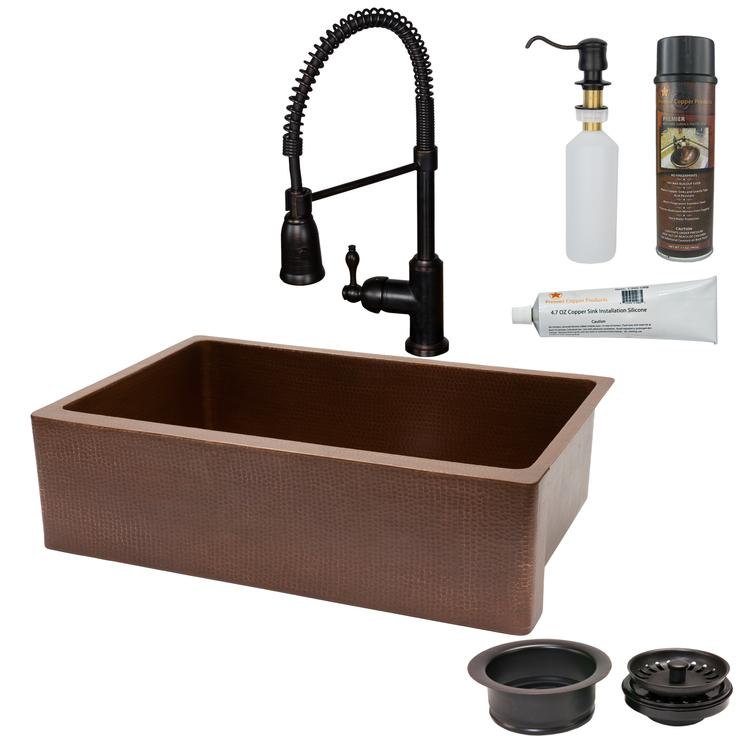 Premier Copper Products - KSP4_KASB33229 Kitchen Sink, Faucet and Accessories Package