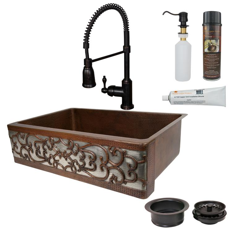 Premier Copper Products - KSP4_KASDB33229S-NB Kitchen Sink, Faucet and Accessories Package