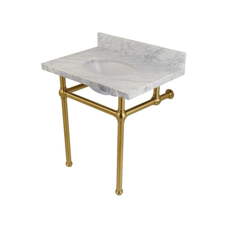 Fauceture KVPB3030MB7 Templeton Carrara Marble Bathroom Console Vanity with Brass Pedestal, Satin Brass