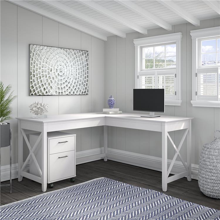 Bush Furniture Key West 60W L Shaped Desk with 2 Drawer Mobile File Cabinet