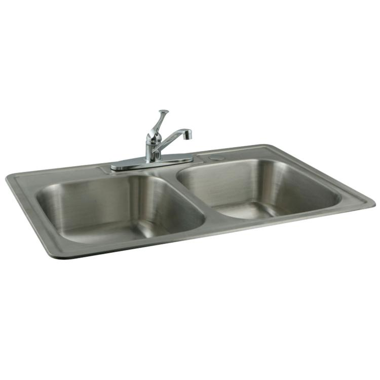 Kingston Brass KZ33227 Stainless Steel Kitchen Sink Combo With Faucet and Strainers, Brushed