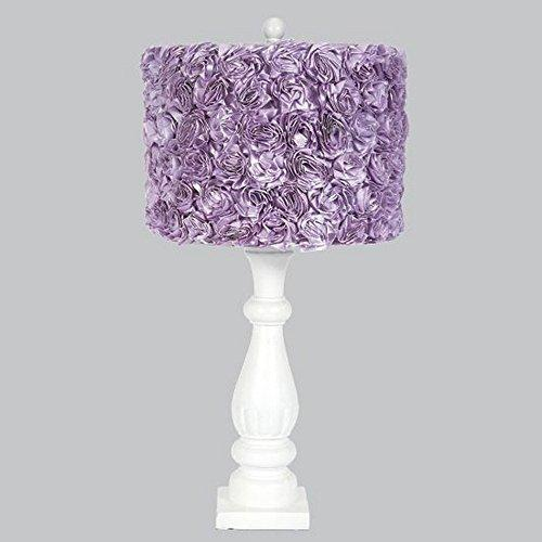 White Shabby Chic Lamp Base with Lavender Rose Garden Drum Shade