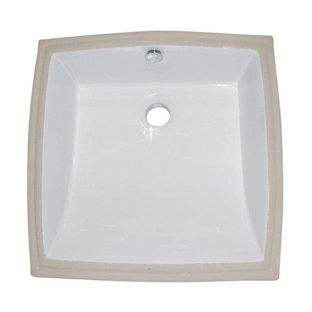 Kingston Brass White China Undermount Bathroom Sink with Overflow Hole