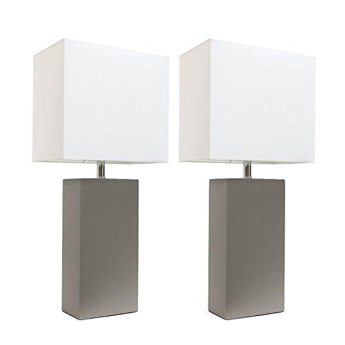 Elegant Designs 2 Pack Modern Leather Table Lamps with White Fabric Shades, Gray
