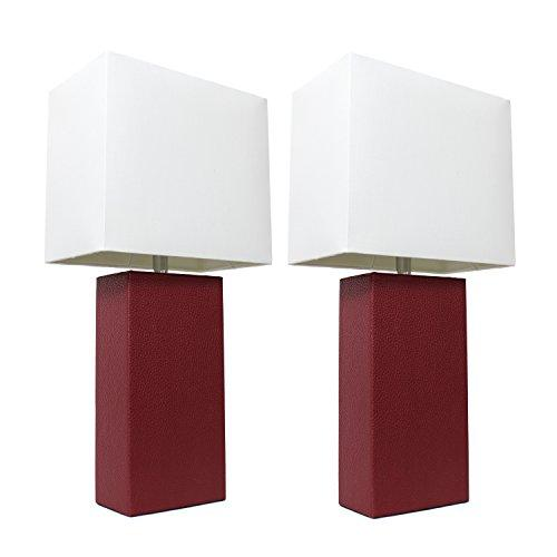 Elegant Designs 2 Pack Modern Leather Table Lamps with White Fabric Shades, Red
