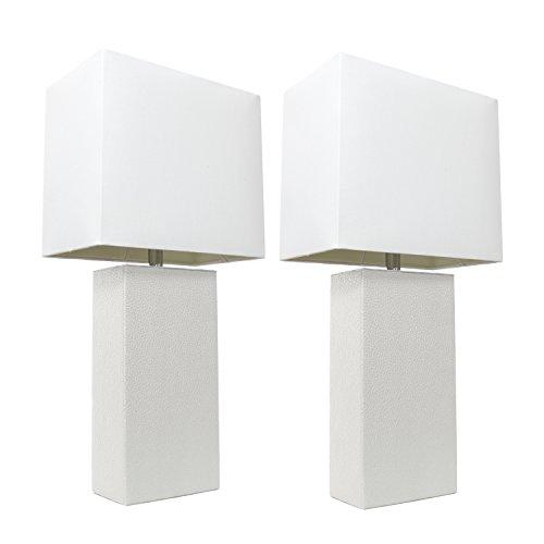 Elegant Designs 2 Pack Modern Leather Table Lamps with White Fabric Shades, White
