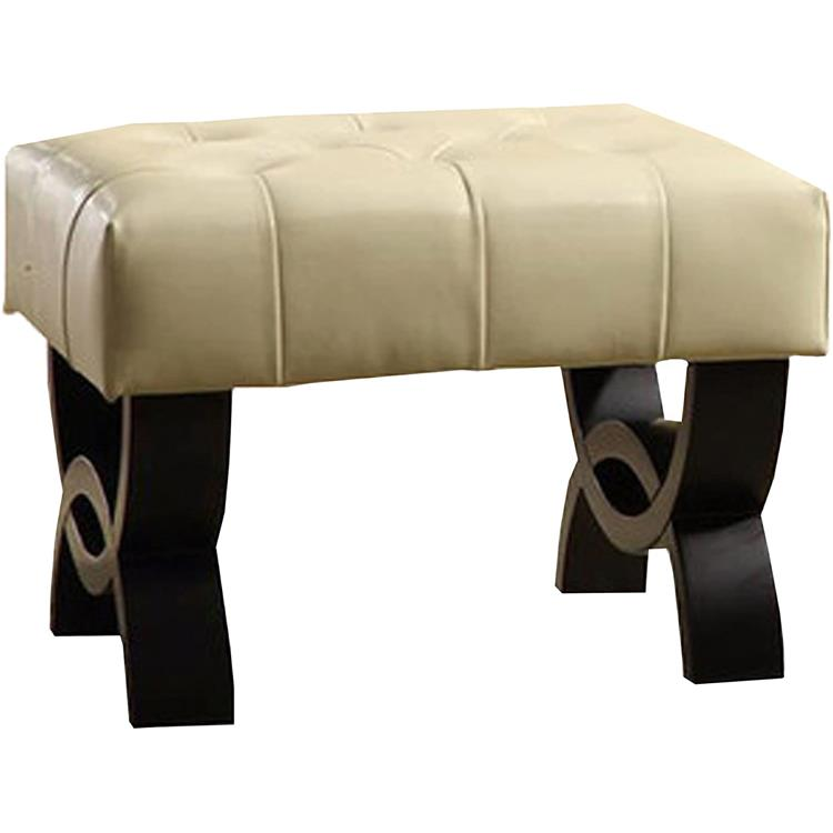 Armen Living Central Park Tufted Leather Ottoman