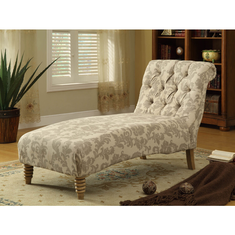 Tufted Chaise In Paisley Ikat Fabric [Item # LC825CHTA]