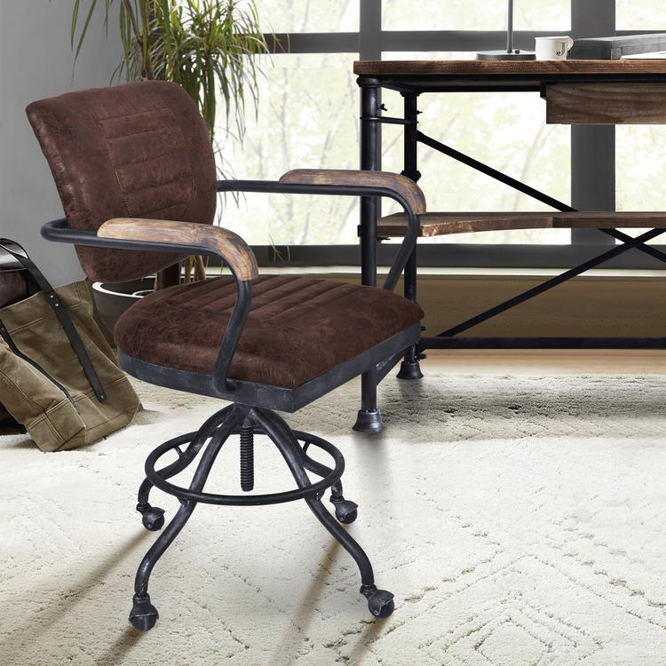 Brice Modern Office Chair in Industrial Grey Finish and Brown Fabric with Pine Wood Arms [Item # LCBIOFSBBR]