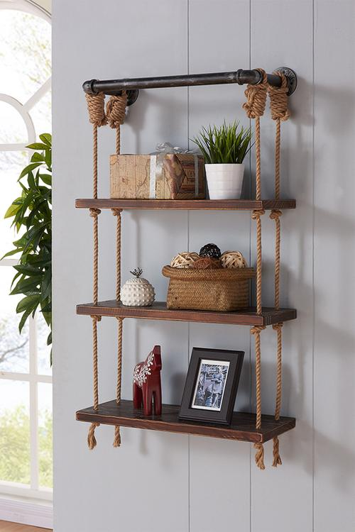 Armen Living Brannon Modern Pine Wood Floating Wall Shelf
