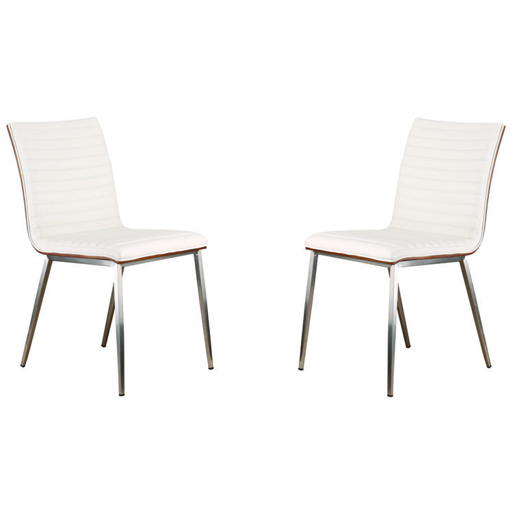 Armen Living Café Brushed Stainless Steel Dining Chair in White Pu with Walnut Back (Set Of 2)