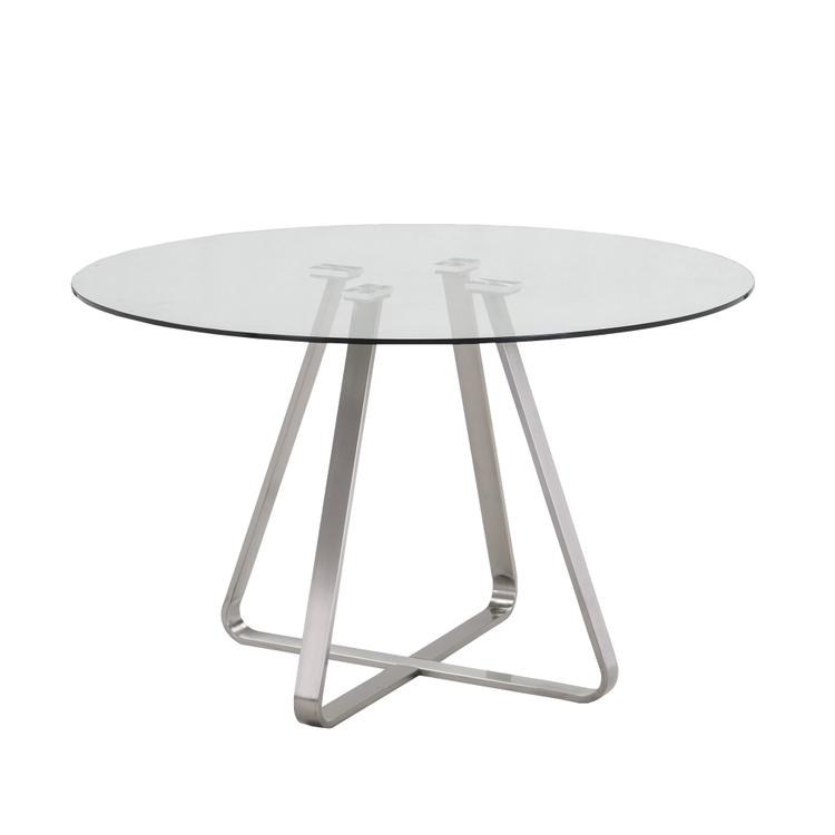 Armen Living Cameo Modern Dining Table In Stainless Steel And Painted Glass