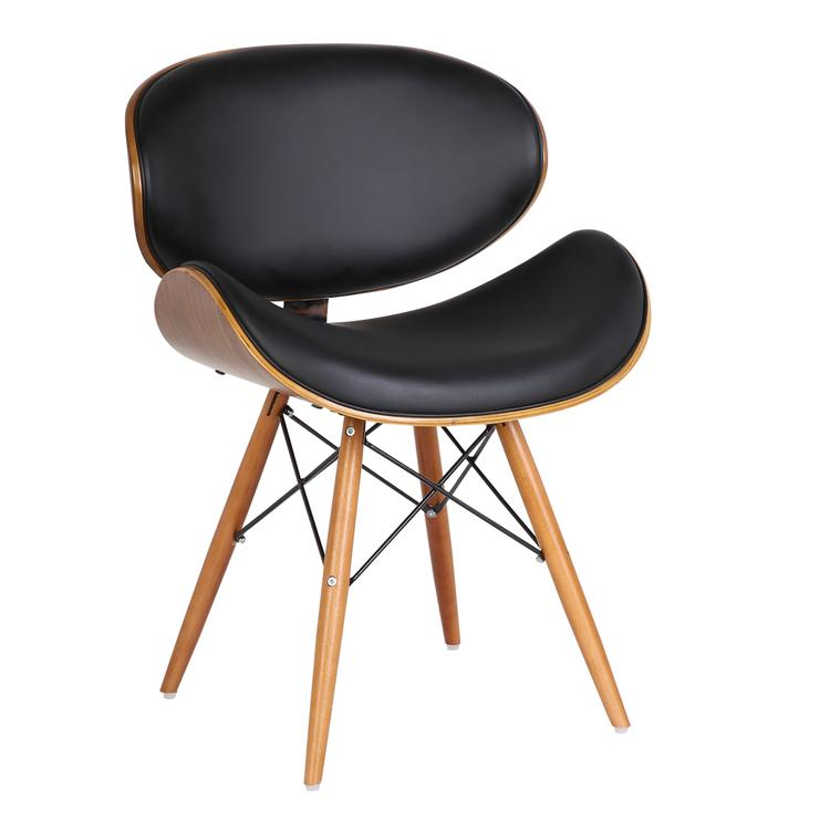 Armen Living Cassie Mid-Century Dining Chair in Walnut Wood and Gray Pu