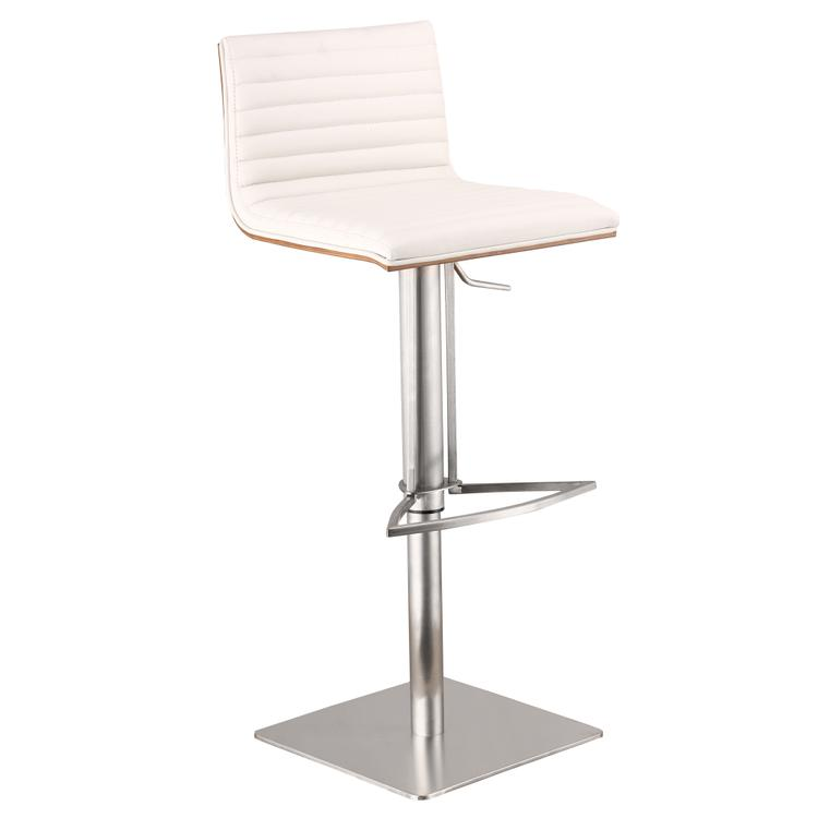 Armen Living Café Adjustable Brushed Stainless Steel Barstool in White Pu with Walnut Back