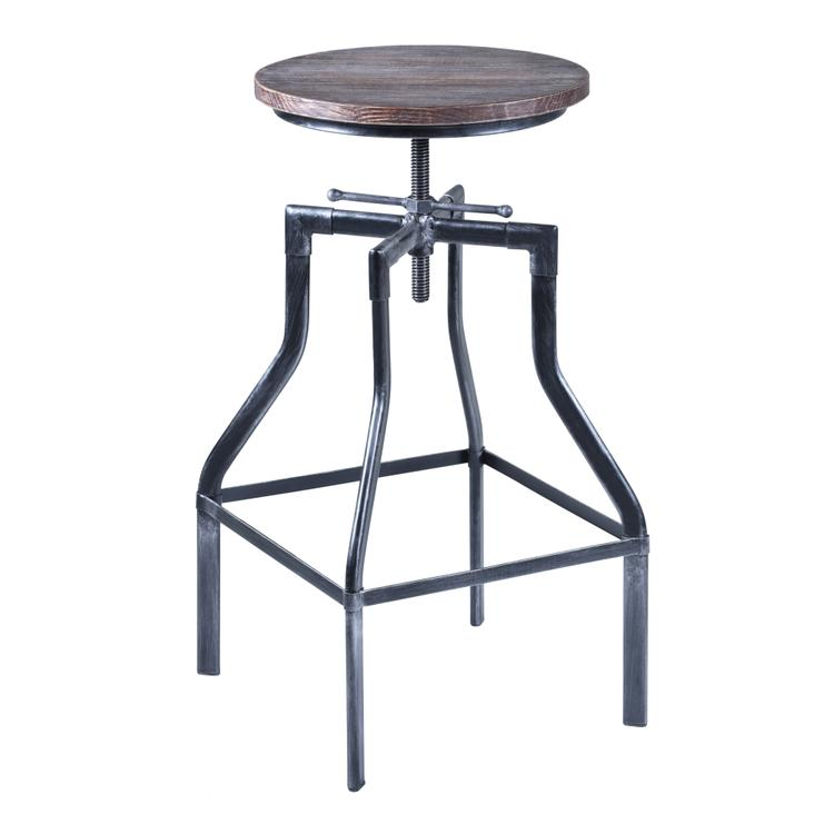 Armen Living Concord Adjustable Barstool With Wood Seat