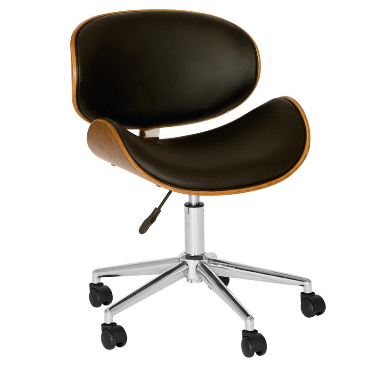 Armen Living Daphne Modern Chair In Black  And Walnut Veneer Back and Chrome