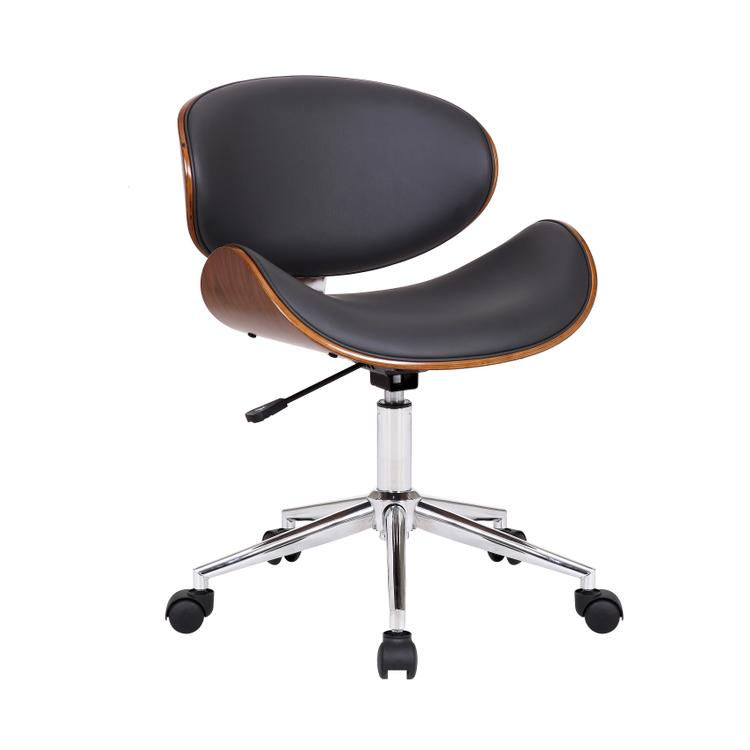 Armen Living Daphne Modern Office Chair In Chrome Finish with Gray Faux Leather And Walnut Veneer Back