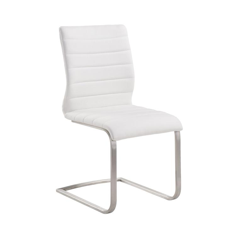 Armen Living Fusion Contemporary Side Chair In White  and Stainless Steel - Set of 2