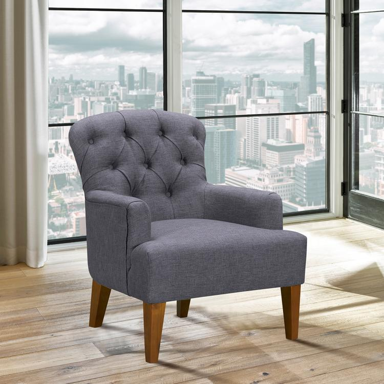 Armen Living Jewel Mid-Century Accent Chair in Champagne Wood Finish and Dark Grey Fabric