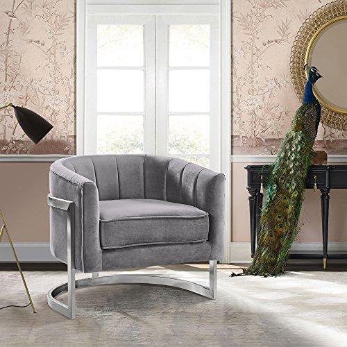 Armen Living Kamila Contemporary Accent Chair in Grey Velvet and Brushed Stainless Steel Finish
