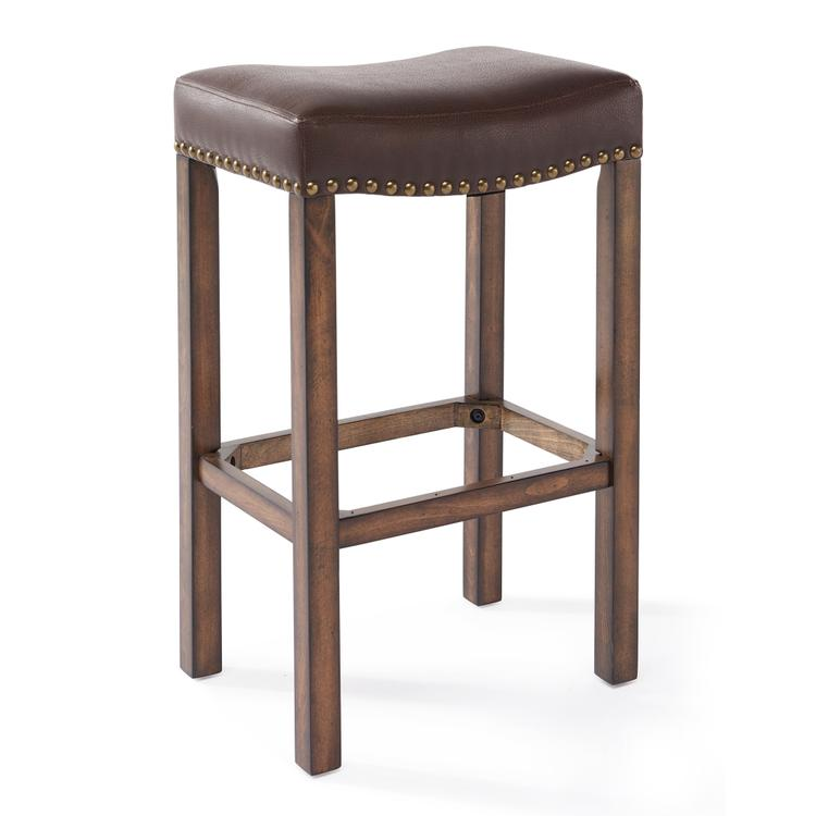 Armen Living Tudor Counter Height Wood Backless Barstool