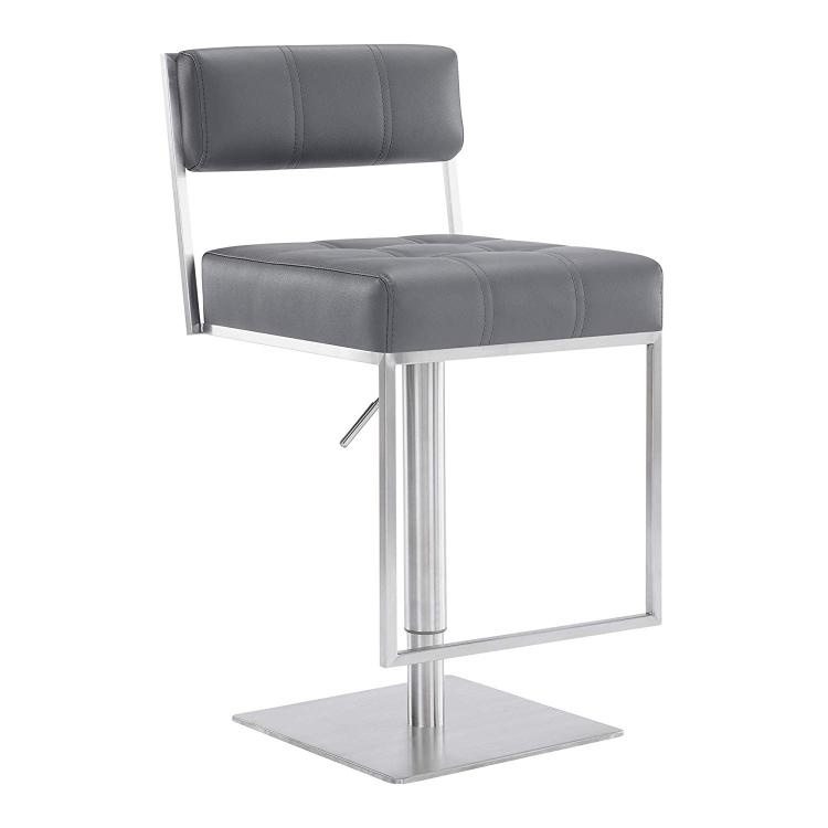 Armen Living Michele Contemporary Swivel Barstool in Brushed Stainless Steel and Grey Faux Leather