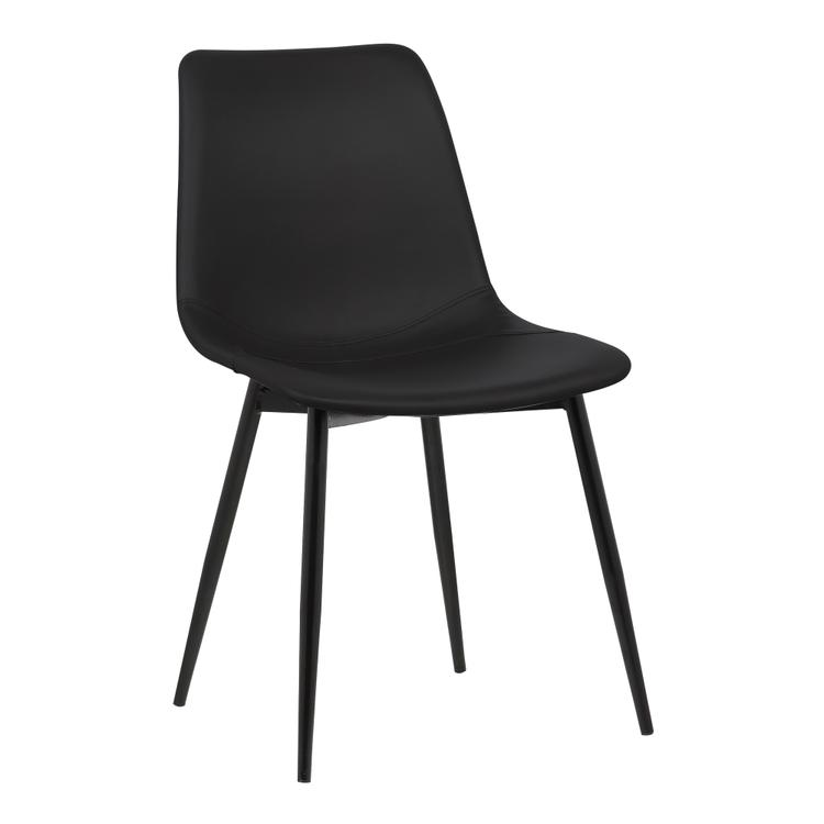 Armen Living Monte Contemporary Dining Chair in Black Faux Leather with Black Powder Coated Metal Legs [Item # LCMOCHBLACK]