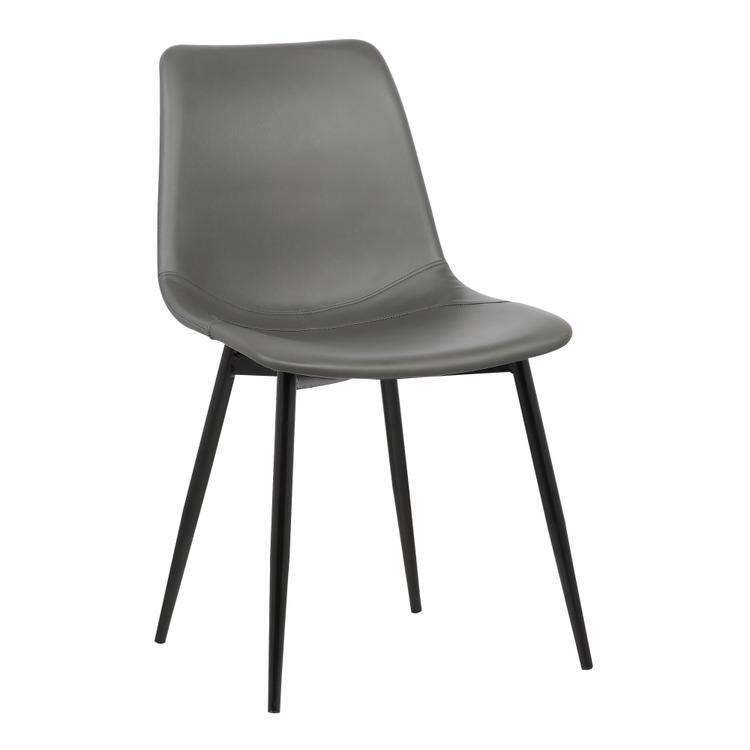 Armen Living Monte Contemporary Dining Chair in Black Faux Leather with Black Powder Coated Metal Legs