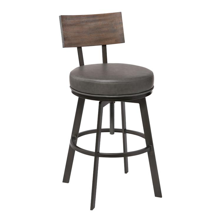 Armen Living Montreal Mid-Century Adjustable Barstool in Mineral Finish with Grey Faux Leather and Walnut Wood Finish Back