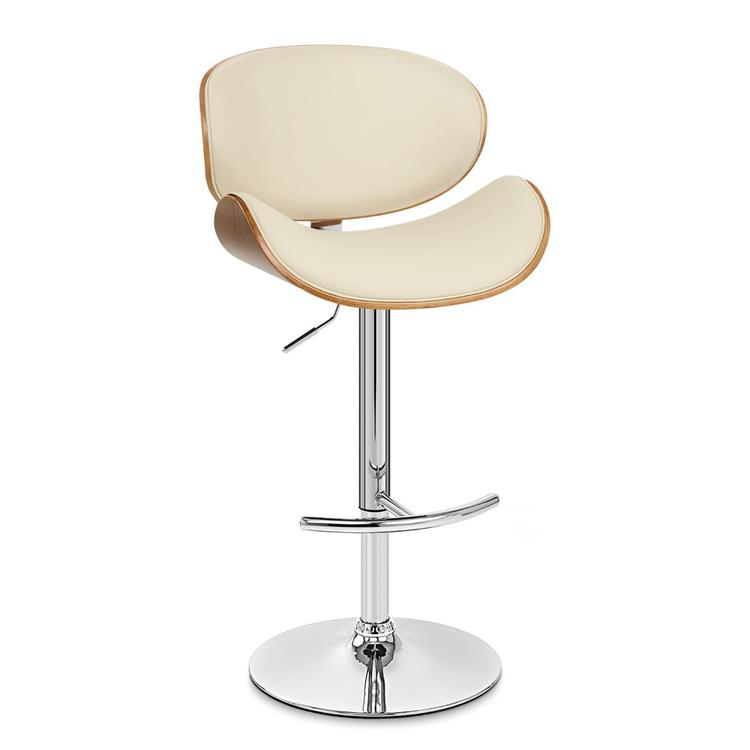 Armen Living Naples Barstool in Chrome finish with Cream Pu upholstery and Walnut Veneer Back