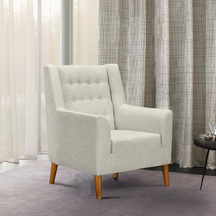 Armen Living Nubia Mid-Century Accent Chair in Champagne Wood Finish and Beige Fabric
