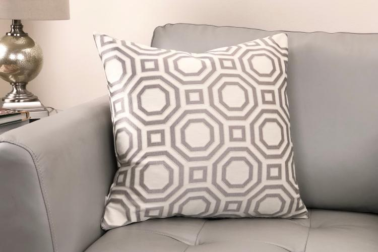 Armen Living Warren Contemporary Decorative Feather and Down Throw Pillow In Gray Jacquard Fabric [Item # LCPIWA20GRAY]