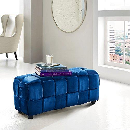Armen Living Raven Contemporary Long Ottoman in Blue Velvet