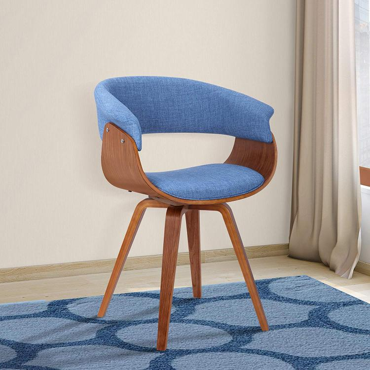 Armen Living Summer Mid-Century Chair in Blue Fabric with Walnut Wood Finish