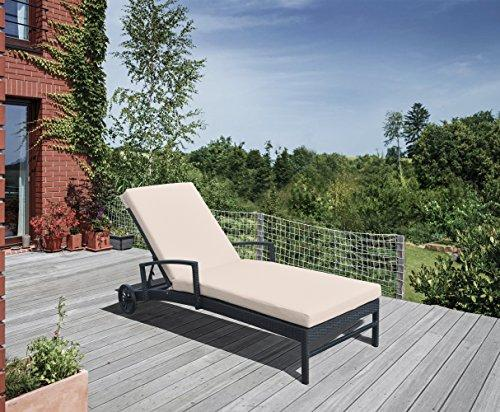 Armen Living Vida Outdoor WickerÿLounge Chair with Water Resistant Beige Fabric Cushion