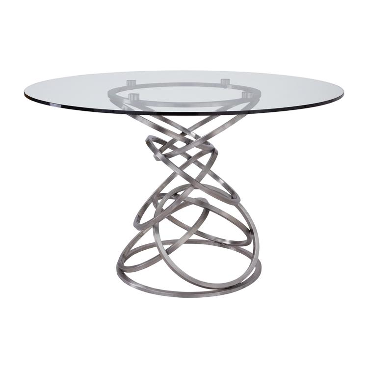 Wendy Contemporary Dining Table in Brushed Stainless Steel Finish and Clear Glass top [Item # LCWNDIBS]