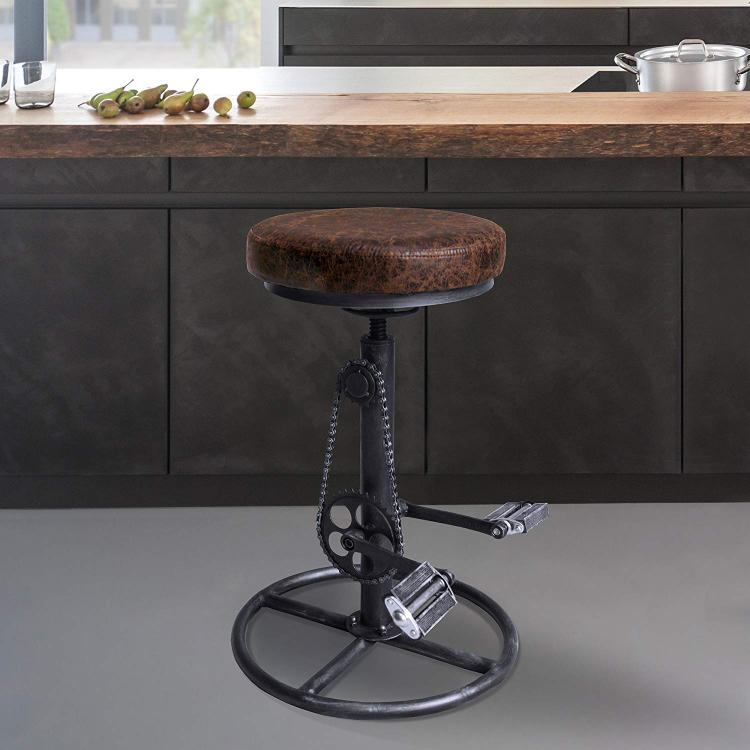 Xane Modern Adjustable Backless Barstool in Industrial Grey and Brown Fabric