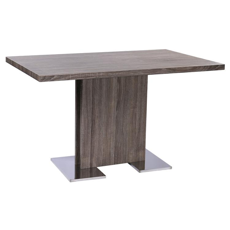 Armen Living Zenith Contemporary Dining Table with Brushed Stainless Steel Base and Gray Walnut Veneer Finish