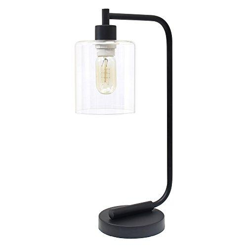 Simple Designs Bronson Antique Style Industrial Iron Lantern Desk Lamp with Glass Shade, Black