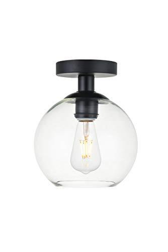Elegant Lighting Baxter 1 Light Black Flush Mount With Clear Glass
