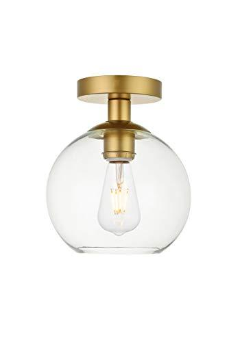 Elegant Lighting Baxter 1 Light Brass Flush Mount With Clear Glass