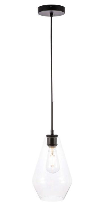 Living District Gene 1 light Black and Clear glass pendant [Item # LD2260BK]
